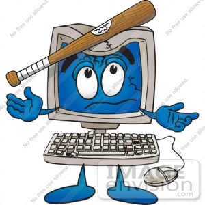 26227-clip-art-graphic-of-a-desktop-computer-cartoon-character-being-broken-with-a-baseball-bat-by-toons4biz
